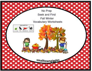Autism Seek and Find Vocabulary NO PREP Printables Literac
