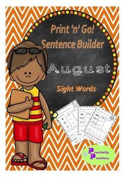 No Prep Sentence Builder - August