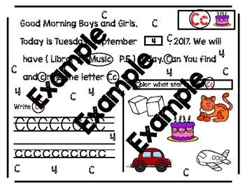 No-Prep Morning Message: September
