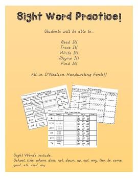 No Prep Sight Word Practice! Read It! Trace It! Write it! Rhyme It!