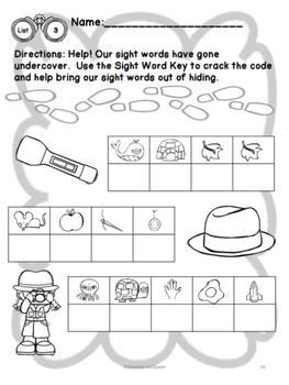 "No Prep Sight Word Practice- ""Undercover Sight Words"" Fry List The First Hundred"
