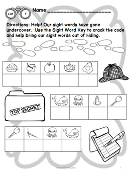 "No Prep Sight Word Practice- ""Undercover Sight Words"" Fry Second Hundred"