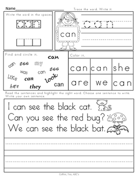 No Prep Sight Word and Fluency Sentences