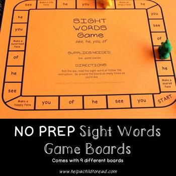 No Prep Sight Words Board Games