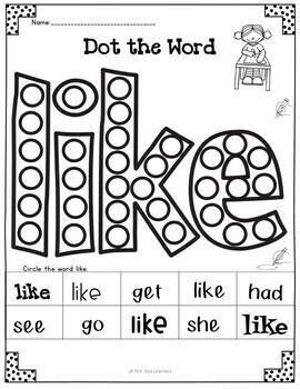 No Prep Sight Words Practice K and 1