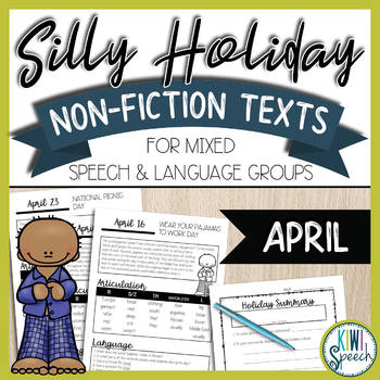 No-Prep Silly Holiday Texts for Speech Therapy Mixed Groups - April