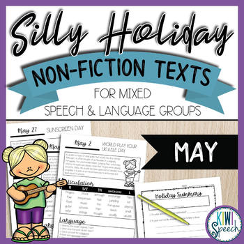 No-Prep Silly Holiday Texts for Speech Therapy Mixed Groups - May