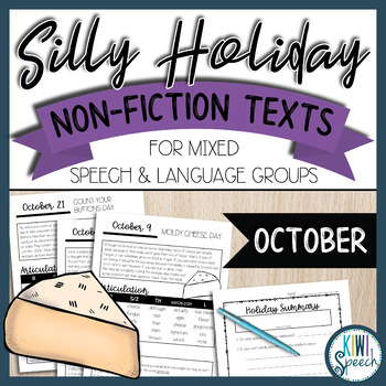 No Prep Silly Holiday Texts for Speech Therapy Mixed Groups - October