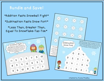 No Prep Snow-Themed Math Game Bundle (Addition, Subtraction, Inequalities)