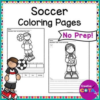 No Prep Soccer Color and Write a Sentence Worksheets