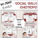 #distancelearning Social Skills Emotions Bundle for Middle High School No Prep