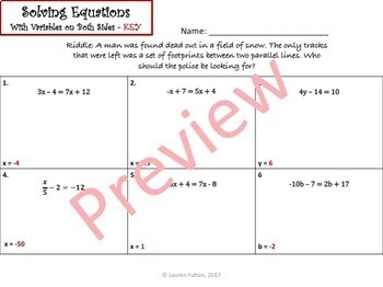 No Prep Solving Equations Mystery Activity Bundle!