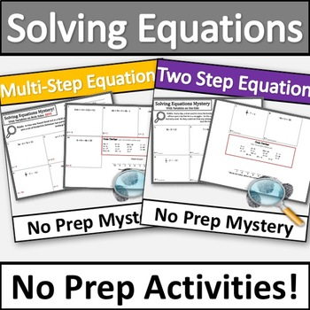 No Prep Solving Equations Mystery Activity Bundle!