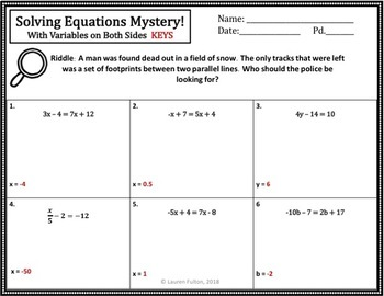 No Prep Solving Equations Activity Mystery!(Multi-Step)