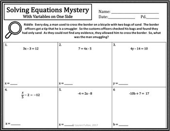 No Prep Solving Equations Mystery Activity!(Two-Step)