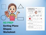 No Prep - Sorting Plane Shapes | Coloring Worksheet