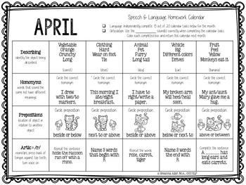No Prep Speech & Language Homework Calendars