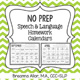 No Prep Speech & Language Homework Calendars
