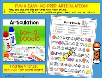 No Prep Speech Therapy Articulation Activities with Pictures:  Dot-A-Doodle