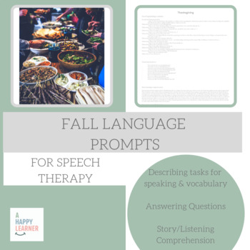 No Prep Speech Therapy Vocab, Speech & Reading Activity for Fall & Halloween