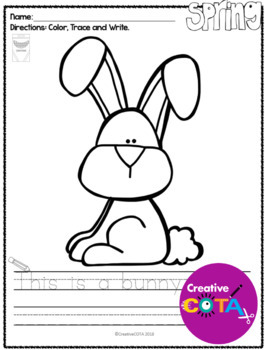 No Prep Spring Coloring Pages and Sentence Trace and Write