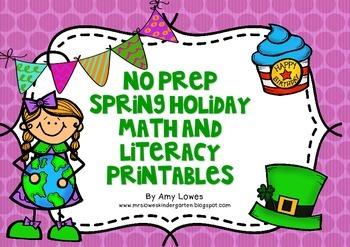 No Prep Spring Holiday Math and Literacy Printables