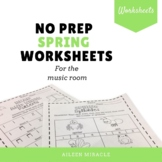 No Prep Spring Music Worksheets