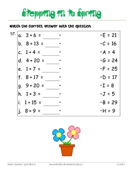 No Prep! Spring Themed Math Worksheets, Numbers and Counting Grade 0-1