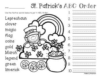 No Prep: St. Patrick's Day ABC Order
