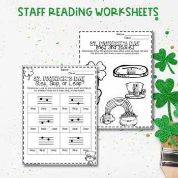 No Prep St. Patrick's Day Music Worksheets