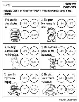 No Prep St. Patrick's Day Pronoun Practice