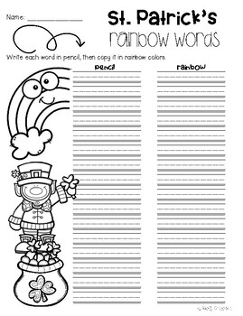 No Prep St. Patrick's Day - Word Study / Spelling / Sight Words
