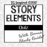 25 Story Elements Quiz + Study Guide