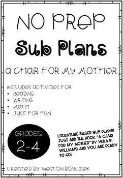 No Prep Sub Plans - A Chair for My Mother