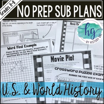 No Prep Emergency Sub Plans for any U.S. or World History Class