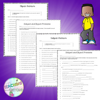 Subject and Object Pronouns - No Prep