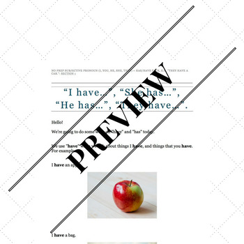 No Prep Subjective Pronoun (I, you, he, she, they) + has/have Pack