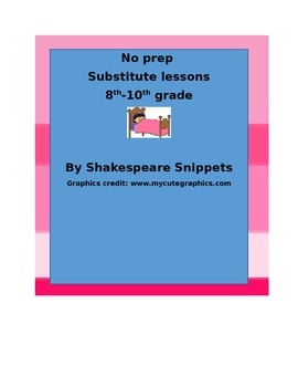 No Prep Substitute Lessons 8th-10th grade ENG