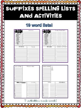 No Prep Suffixes Spelling Lists and Activities