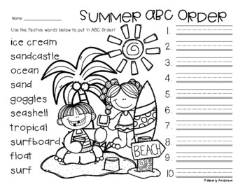 No Prep: Summer / End of the Year - ABC Order
