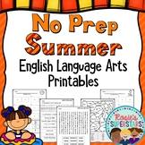 No Prep Summer English Language Arts Printables