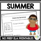 Summer Literacy Activities - NO PREP