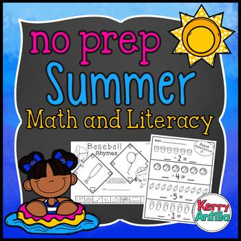 No Prep Summer Math and Literacy Kindergarten Pack