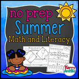 No Prep Summer Math and Literacy Kindergarten Pack