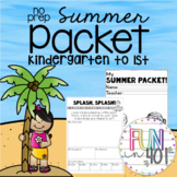 No Prep Summer Packet for Kindergarten going to 1st grade!