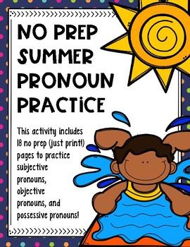 No Prep Summer Pronoun Practice