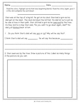 No Prep Summer Reading Skills Practice for First Grade Sample