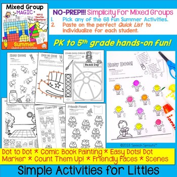 No-Prep Summer Speech Therapy Activities with Yes-No & WH Questions