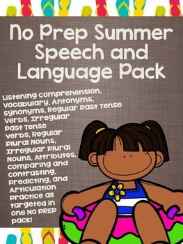 No Prep Summer Speech and Language Pack