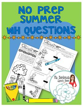 No Prep Summer WH Questions Freebie!